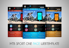 One page SPORT website flat UI design template. It include a lot of flat stlyle icons, forms, header, footeer, menu, banner and spaces for pictures and icons Royalty Free Stock Photo