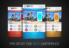 One page SPORT website flat UI design template. It include a lot of flat stlyle icons, forms, header, footeer, menu, banner and spaces for pictures and icons Stock Photos