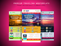 One page TRAVEL website flat UI design template Royalty Free Stock Photos