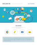 One page web design template of digital marketing, social network. Royalty Free Stock Photography