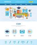 One page web design template with icons of education. Royalty Free Stock Images