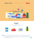 One page web design template with icons of financial strategy Stock Photography