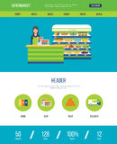 One page web design template with icons of supermarket shop. Stock Photography