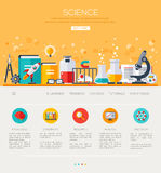 One page web template with flat science icons Stock Photos