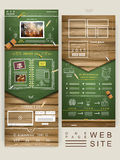 One page website design with chalkboard and wooden wall Stock Image