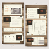 One page website design with paper and wooden texture Royalty Free Stock Photo