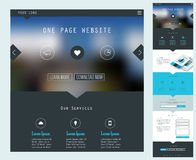 One Page Website Design. Responsive landing page or one page website template in flat design with modern blurred header background royalty free illustration