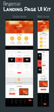 One Page Website Design. Responsive landing page or one page website template with mobile and desktop versions and high-detailed laptop, tablet and smartphone vector illustration