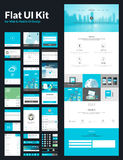 One page website design template. All in one set for website design that includes one page website templates, flat UI kit for web and mobile design, and flat stock illustration