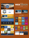 One page website design template with blur landscape Royalty Free Stock Images
