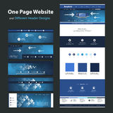One Page Website Design Template and Different Headers Stock Images