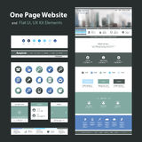 One Page Website Design Template and Flat UI, UX Elements stock illustration