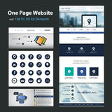 One Page Website Design Template and Flat UI, UX Elements Stock Photos