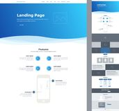 One page website design template for your business. Landing page wireframe. Ux ui website design. Flat modern responsive design il Stock Photo