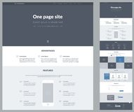 One page website design template for your business. Landing page wireframe. Ux ui website design. Flat modern responsive design il. One page website design stock illustration