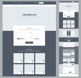 One page website design template for your business. Landing page wireframe. Ux ui website design. Flat modern responsive design. Royalty Free Stock Image