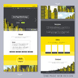 One page website design with yellow city scene Stock Image