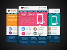 One page website flat UI design template. Stock Images