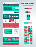 One page website flat UI design template. Royalty Free Stock Photography