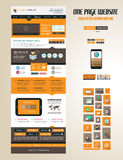 One page website flat UI design template Stock Image