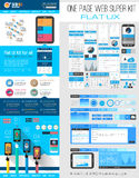 One page website flat UI design template Stock Photos