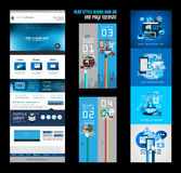One page website flat UI design template Royalty Free Stock Image