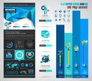 One page website flat UI design template. Royalty Free Stock Photo