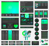One page website flat UI design template Stock Photography