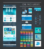 One page website flat UI UX design template Stock Images