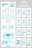 One Page Website and Mobile Apps Wireframe Kit Stock Photo