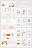 One Page Website and Mobile Apps Wireframe Kit. Responsive landing page or one page website and mobile apps template mockups wireframe workflow collection Stock Photo