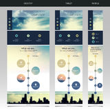One Page Website Template with Blurred Background royalty free illustration