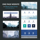 One Page Website Template and Different Header Designs with Blurred Backgrounds Royalty Free Stock Photos