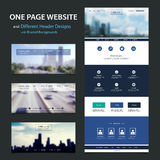 One Page Website Template and Different Header Designs with Blurred Backgrounds Stock Photos