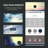 One Page Website Template and Different Header Designs with Blurred Backgrounds. Modern Colorful Abstract Web Site, Flat UI or UX Layout Creative Design Template Stock Illustration