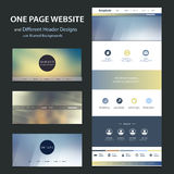 One Page Website Template and Different Header Designs with Blurred Backgrounds. Modern Colorful Abstract Web Site, Flat UI or UX Layout Creative Design Template Royalty Free Illustration