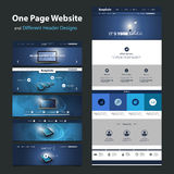 One Page Website Template and Different Header Designs Stock Image