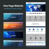 One Page Website Template and Different Header Designs. Modern Colorful Abstract Web Site, Flat UI or UX Layout Creative Design Template - User Interface, Icon Royalty Free Illustration