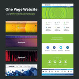 One Page Website Template and Different Header Designs Stock Photo