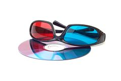 One pair of 3D glasses isolated in white Royalty Free Stock Image