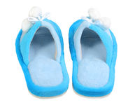 Pair of domestic blue slippers Royalty Free Stock Image
