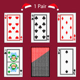 One pair playing card poker combination.  illustration eps 10. On a red background. To use for design, registration, the web Royalty Free Stock Images