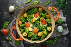One Pan Green shakshuka with kale, broccoli, sweet peas, spinach and dill with free range eggs, perfect supper. Royalty Free Stock Photography