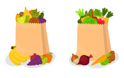 One paper bag with vegetables second with fruits color illustration for web and mobile design Royalty Free Stock Photography