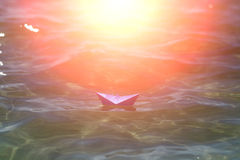 One paper boat in sea Royalty Free Stock Images
