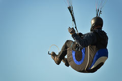 One paragliding in blue sky Stock Photos