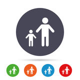 One-parent family with one child sign icon. Royalty Free Stock Photos