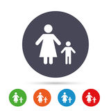 One-parent family with one child sign icon. Mother with son symbol. Round colourful buttons with flat icons. Vector Royalty Free Stock Image