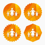 One-parent family with two children sign icon. Stock Photos