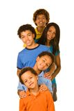 One parent with four boys in a row Royalty Free Stock Photography
